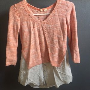 Light orange sweater with built in button down
